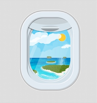 Window from inside the airplane with island
