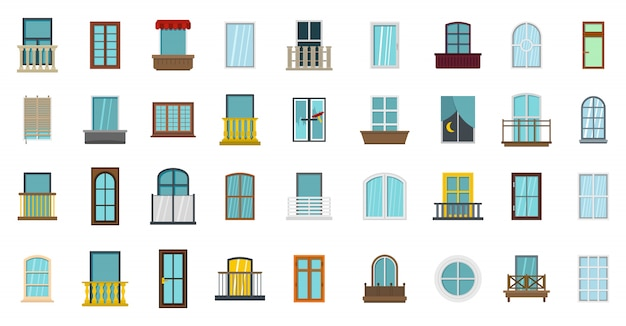 Window icon set. flat set of window vector icons collection isolated