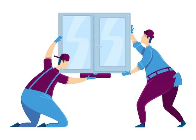 창 설치 색상 얼굴없는 문자. 프레임에 유리를 들고 편리한 노동자의 그룹입니다. 주택 개선 서비스. 제복을 입은 빌더. 집 수리 만화 일러스트 레이 션