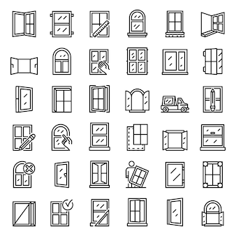 Window installation icons set, outline style
