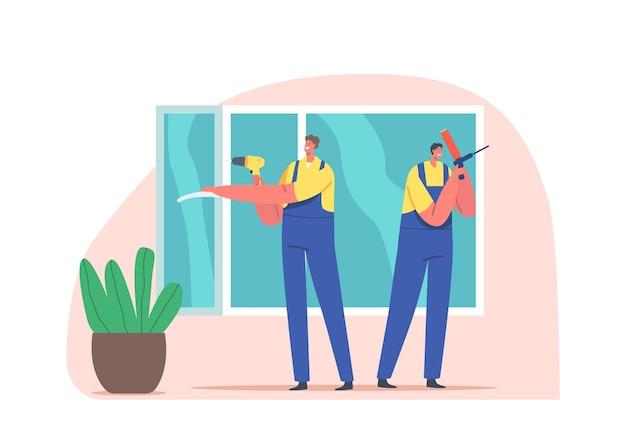 창 설치 작업자 캐릭터 주택 건설 및 목수 서비스, 플라스틱 창 유리 설치, 주택 리모델링, 수리 및 개조 목공. 만화 사람들 벡터 일러스트 레이 션
