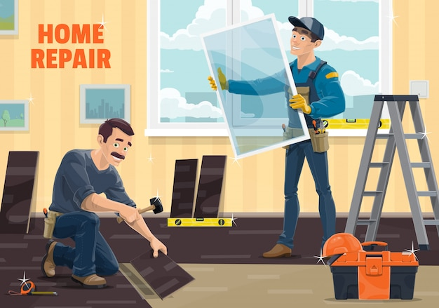Window installer worker, home repair, renovation and remodeling carpentry service, . workers at windows installation and laminate flooring with work tools, hammer and measuring tape and ladder