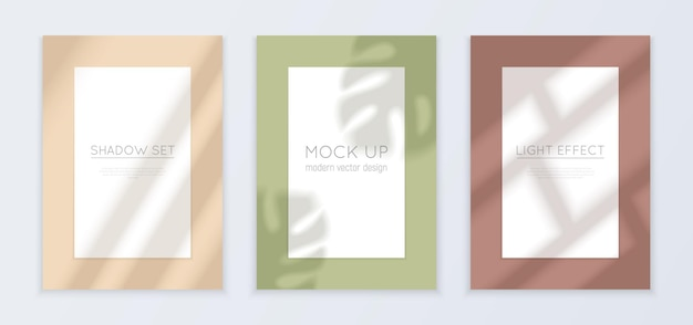 Window light and shadow realistic banners set with light effect isolated illustration