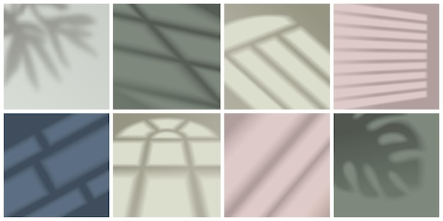 Window light and shadow realistic decorative set isolated  illustration