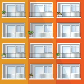 화려한 아파트 건물의 창입니다.