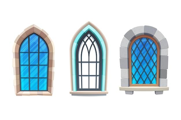 中世の城や要塞の内部の窓。教会、大聖堂または寺院の外部要素、金属、木製のフレーム、石積みで漫画のベクトルアーチ窓を構築するゴシック建築