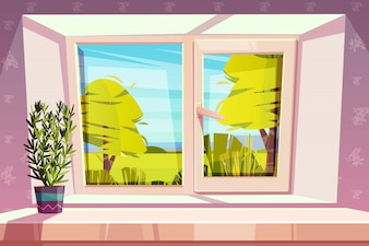 Window overlooking sunny park or meadow and home plant in pot on windowsill cartoon