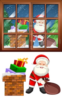 Window scene with sant and presents