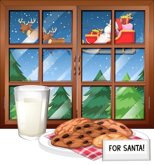 Window scene with santa on sleigh flying