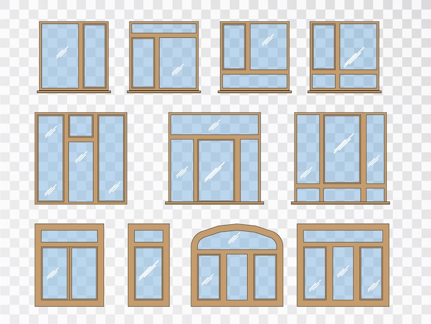 Window set of different types. collection classic architecture elements