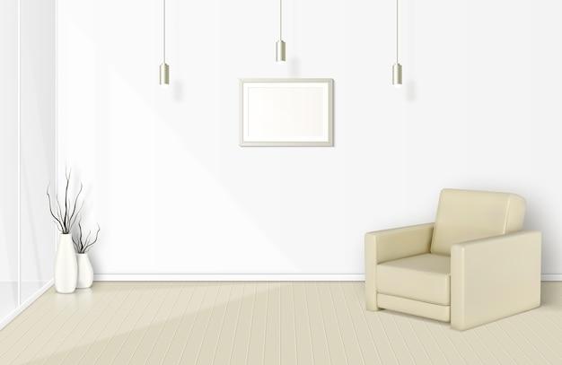 Тень окна в белой комнате