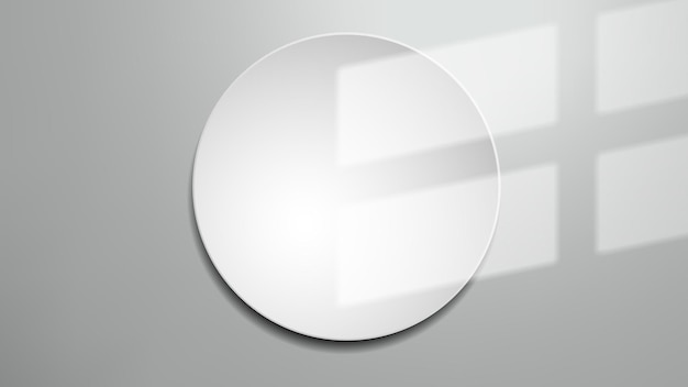 Window shadow on white round frame