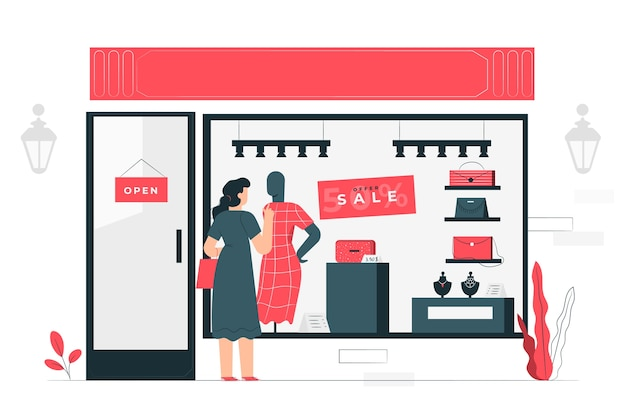 Window shopping illustration concept
