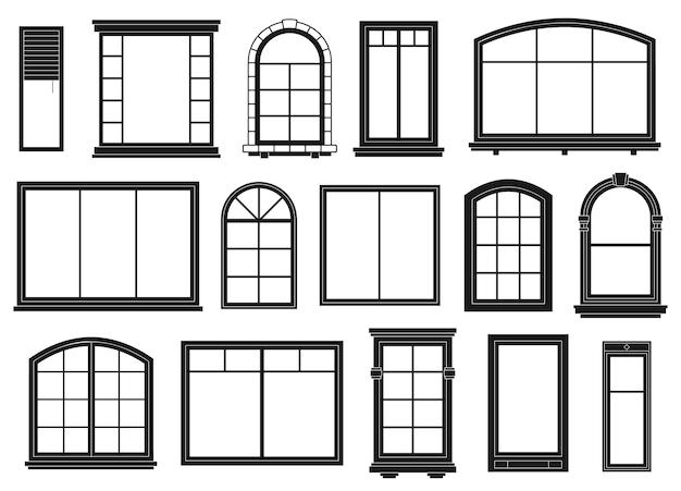 窓のシルエット。外部フレーミングウィンドウ、黒い輪郭の華やかなアーチとドアの建築物、孤立したベクトルセット。建築窓の外観、ラインアーチ木製アウトラインイラスト