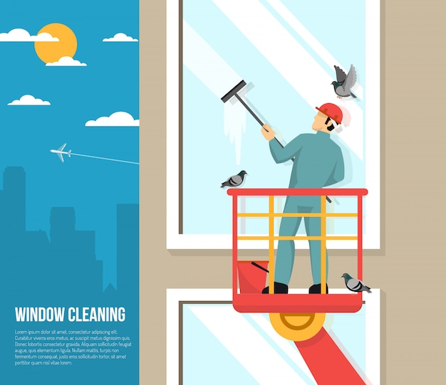 Window washer at work flat illustration