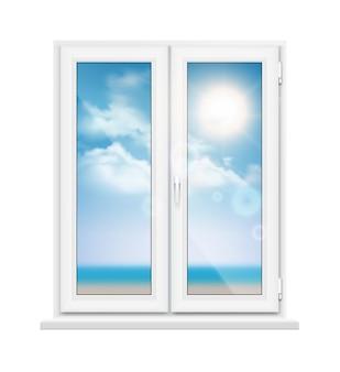 화창한 날에 해변 풍경과 창