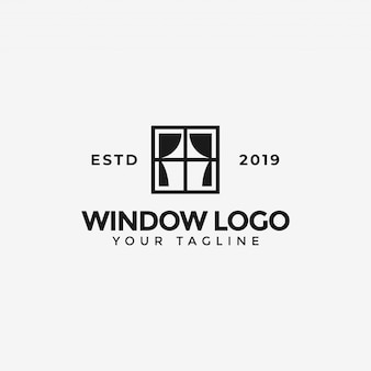 Window with curtain logo  template
