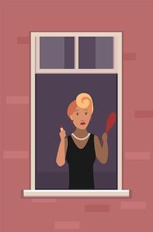 Window with people illustration design