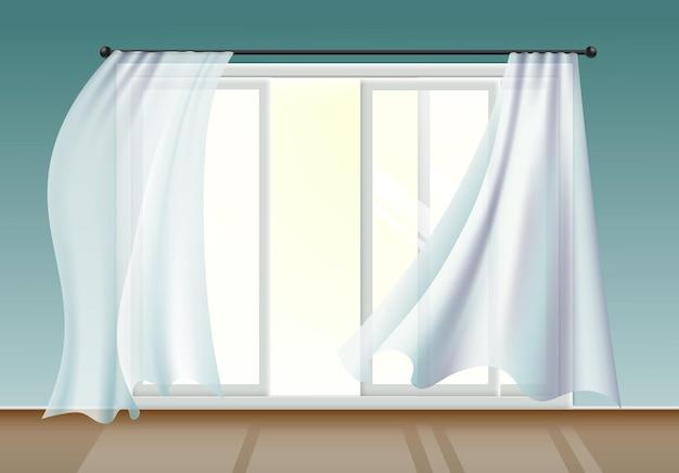Окно с белыми шторами, развевающимися на ветру, реалистичная иллюстрация в интерьере