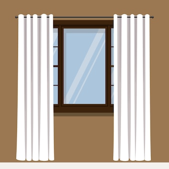 Window with white drapery curtains