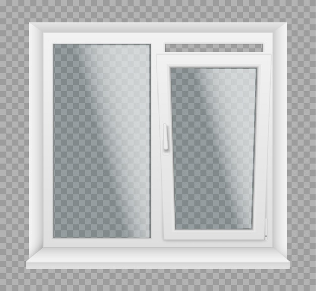 Window with white plastic frame, sills and glass panels, architecture and interior design element. realistic 3d windows with pvc, metal or aluminum profiles, locking handles. vector illustration