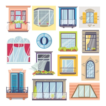 白いイラストの窓とバルコニーのセット。家の正面の建築、窓ガラス、窓辺、花飾り、カーテン、ヴィンテージのバルコニー要素。