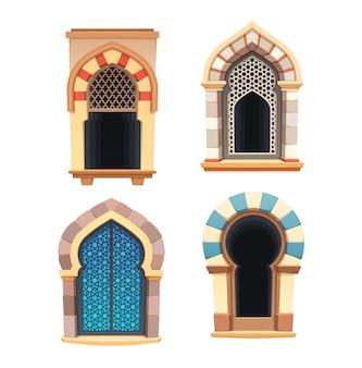 Windows of arabian castle or fortress interior