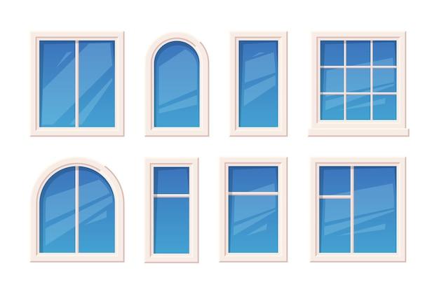 ウィンドウズ。建築用ガラスオブジェクトウィンドウラメさまざまなタイプの屋外の派手なベクトルセット。イラストガラスファサード窓、装飾構造の建物