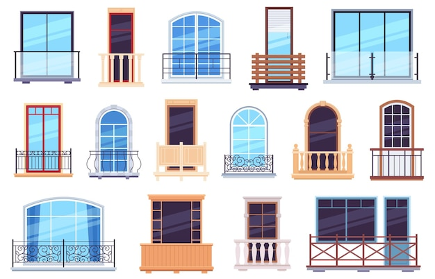 Windows and balconies. architecture house facade with modern and classic balcony doors, casement frames and railings vector set. facade balcony construction, architecture apartment illustration