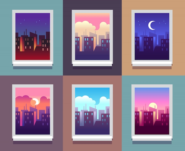 Windowsの昼間。早朝日の出日没、正午、夕暮れの夕方、家の窓の中の夜の街並みの高層ビル