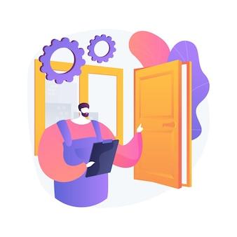 Illustrazione astratta di concetto di servizi di porte e finestre. sostituzione e installazione, manutenzione di porte e finestre e appaltatore di riparazione, vetri rotti, zanzariera, patio