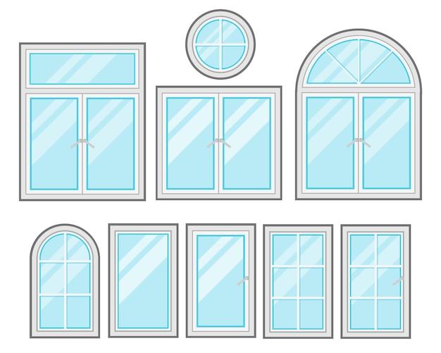 흰색 배경에 고립 된 windows 평면 만화 세트