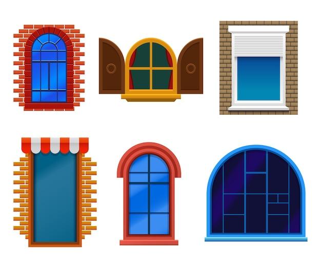 Окна, плоские изолированные различные ретро, мультфильм и современный набор. окна дома со стеклом, шторы и ставни в кирпичных и пластиковых рамах.