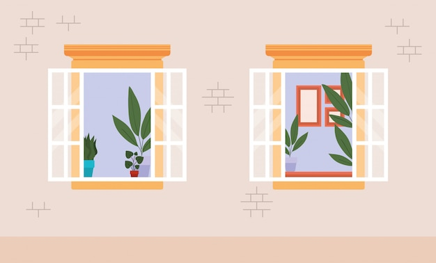 Windows from outside with view into the white house vector design