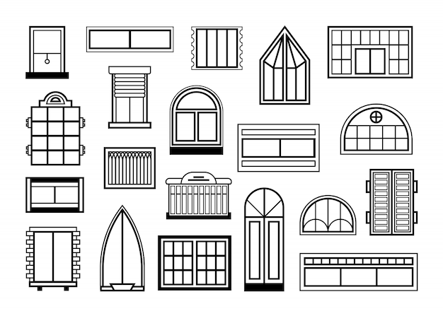 Set di porte in vetro e finestre