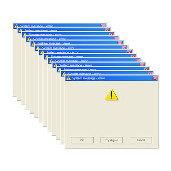 Windows message   illustration  on white background