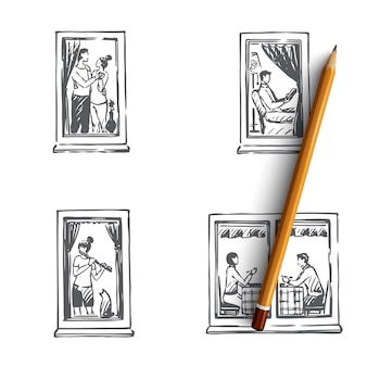 ダンス、読書、音楽イラストを演奏する家の人々の窓