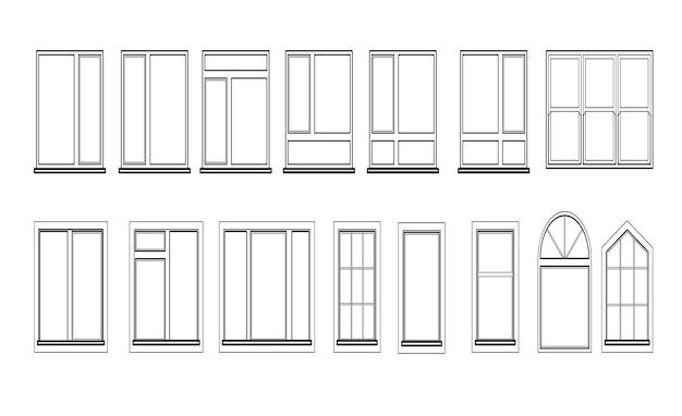 Windowsセットは白い背景で隔離。建築とインテリアデザインの閉じたベクトルウィンドウ要素。白い背景で隔離の黒い色のイラスト。