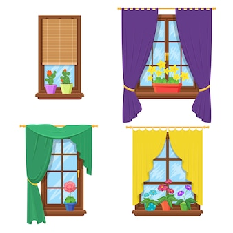 Windows with curtains and flowers