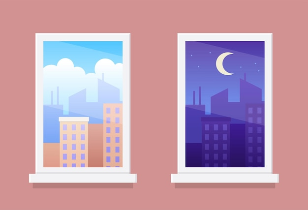 Windows with day and night city landscapes