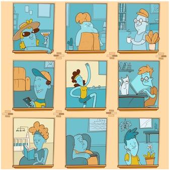 異なる人々との窓。コロナウイルスから身を守るために家にいるさまざまな人。