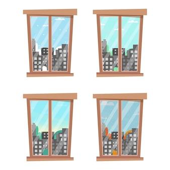 季節のある窓。一年のさまざまな時期の都市景観。秋、冬、春、夏をひとつの窓から。ベクトルイラスト。フラット漫画スタイル