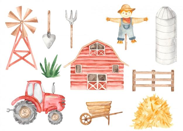 農場の納屋、トラクター、windpump、穀倉、庭の木製カート、干し草