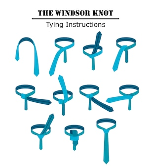 The windsor tie knot instructions isolated on white background. guide how to tie a necktie. flat illustration in