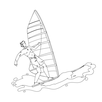 Виндсерфинг человек серфер спортсмен на волнистом море черная линия карандашный рисунок вектор. спортсмен, занимающийся виндсерфингом на воде океана волны. персонаж молодой мальчик верхом виндсерфинг активный спорт жизни время образ жизни иллюстрация