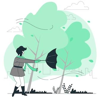 Windy dayconcept illustration