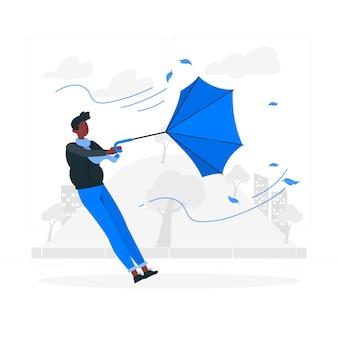 Иллюстрация концепции ветреного дня