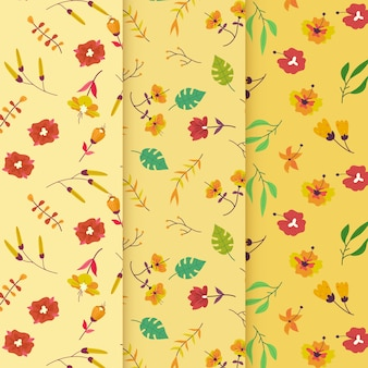 Windy flowers hand drawn spring pattern