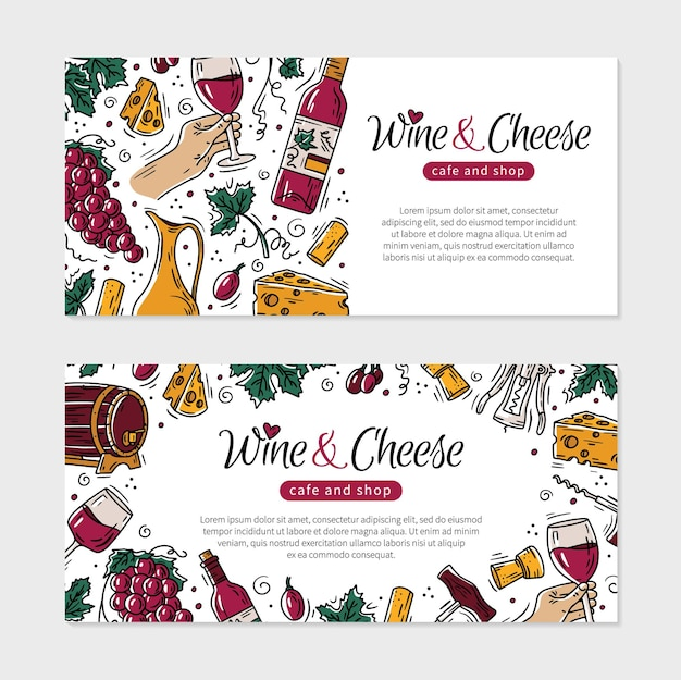 Флаер с вином и сыром для ресторана или магазина в стиле каракули