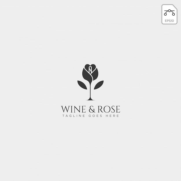 와인과 장미 로고 템플릿 벡터 절연, 아이콘 요소